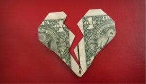 Broken Money Heart image -The Financial Impact of Divorce After 50